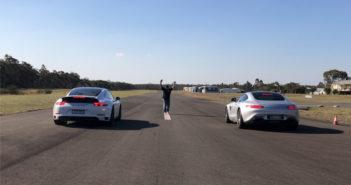 DRAG RAGE: Mercedes AMG GT S vs Porsche 911 Carrera 4 GTS
