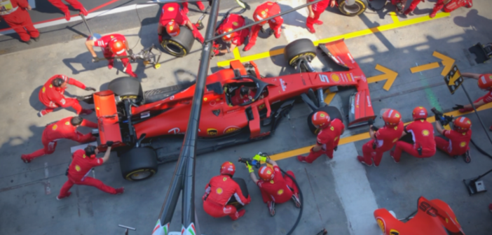 Ferrari F1 Pit Stop Practice – Birds Eye View